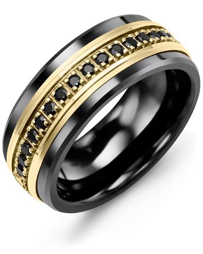 Men's & Women's Black Ceramic & Yellow Gold + 17 Black Diamonds 0.34ct Wedding Band