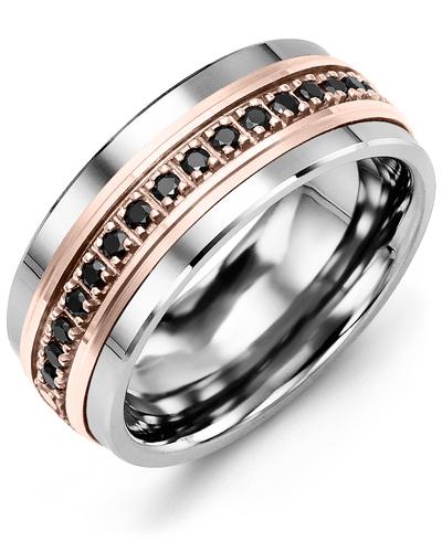 Men's & Women's Tungsten & Rose Gold + 17 Black Diamonds 0.34ct Wedding Band