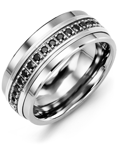 Men's & Women's Tungsten & White Gold + 17 Black Diamonds 0.34ct Wedding Band