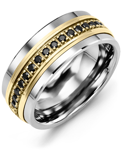 Men's & Women's Tungsten & Yellow Gold + 17 Black Diamonds 0.34ct Wedding Band