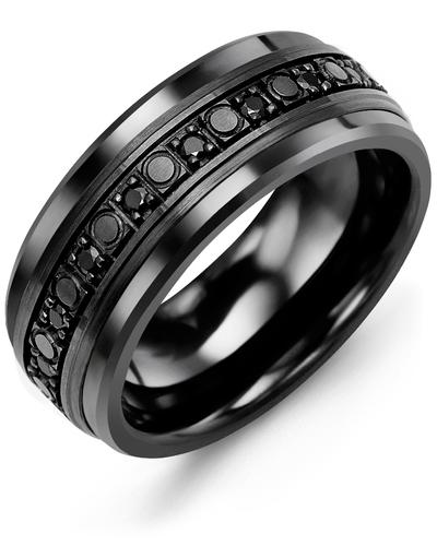 Men's & Women's Black Ceramic & Black Gold + 18 Black Diamonds 0.36ct Wedding Band