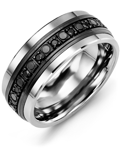 Men's & Women's Cobalt & Black Gold + 18 Black Diamonds 0.36ct Wedding Band