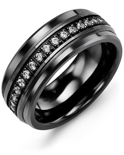 Men's Medium Black Eternity Diamond Wedding Band