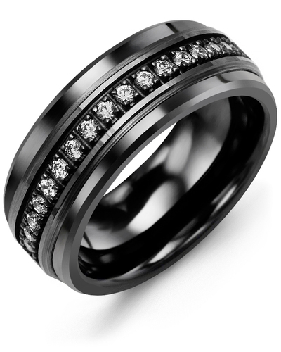 Men's & Women's Black Ceramic & Black Gold + 17 Diamonds 0.34ct Wedding Band