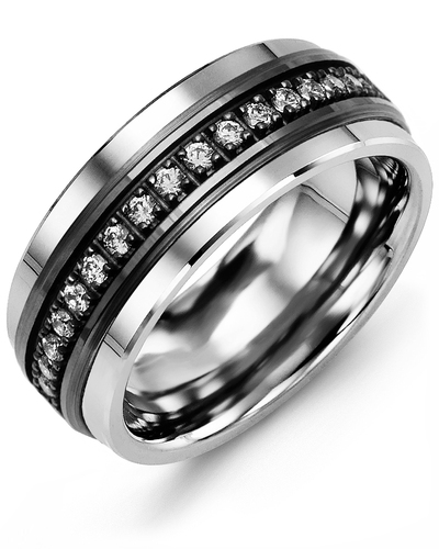 Men's & Women's Cobalt & Black Gold + 17 Diamonds 0.34ct Wedding Band