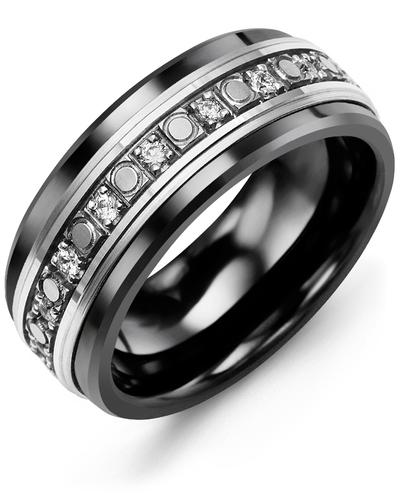 Men's & Women's Black Ceramic & White Gold + 18 Diamonds 0.36ct Wedding Band
