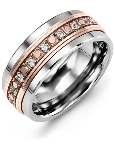 Men's & Women's Cobalt & Rose Gold + 18 Diamonds 0.36ct Wedding Band
