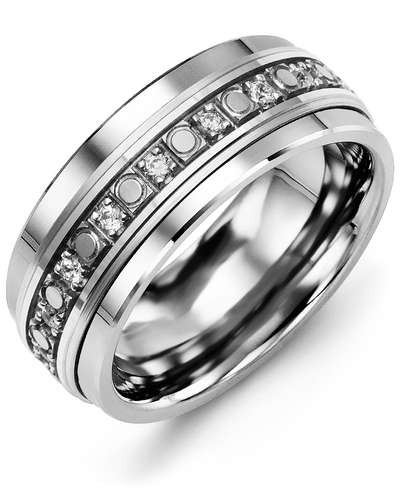 Men's & Women's Cobalt & White Gold + 18 Diamonds 0.36ct Wedding Band