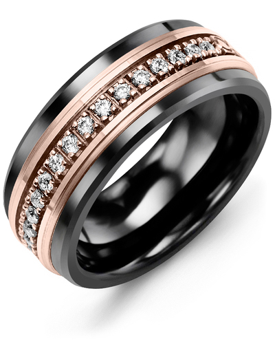 Men's & Women's Black Ceramic & Rose Gold + 17 Diamonds 0.34ct Wedding Band