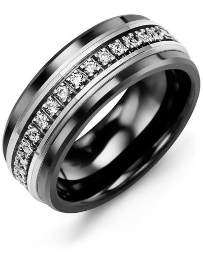 Men's & Women's Black Ceramic & White Gold + 35 Diamonds 1.05ct Wedding Band