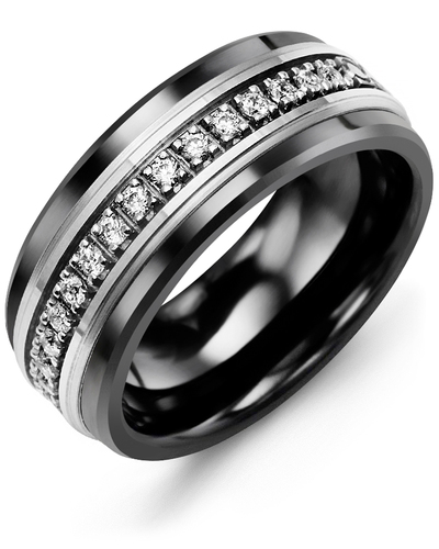 Men's & Women's Black Ceramic & White Gold + 17 Diamonds 0.34ct Wedding Band