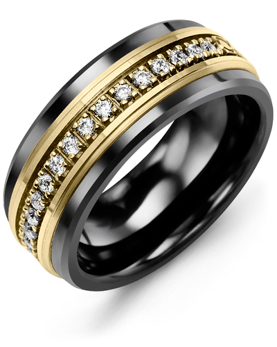 Men's & Women's Black Ceramic & Yellow Gold + 17 Diamonds 0.34ct Wedding Band