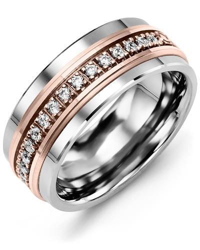 Men's & Women's Black Ceramic & Rose Gold + 35 Diamonds 1.05ct Wedding Band