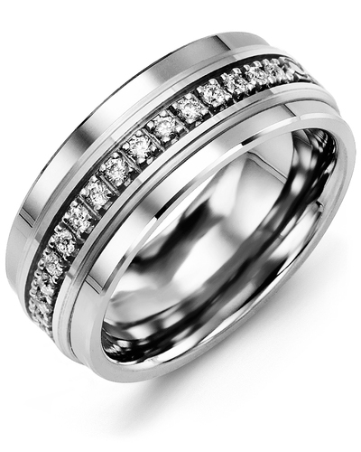 Men's & Women's Tungsten & White Gold + 17 Diamonds 0.34ct Wedding Band