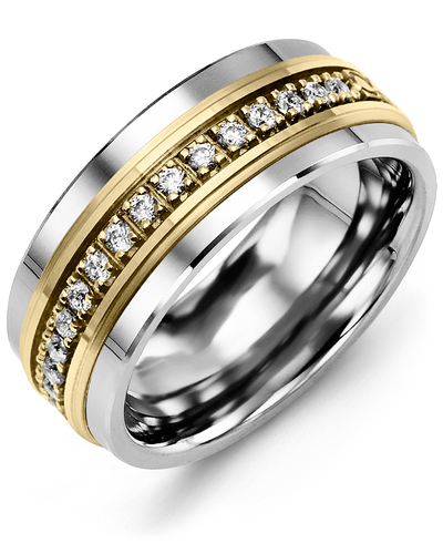 Men's & Women's Tungsten & Yellow Gold + 17 Diamonds 0.34ct Wedding Band