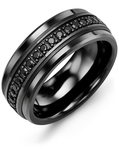 Men's & Women's Black Ceramic & Black Gold + 17 Black Diamonds 0.34ct Wedding Band