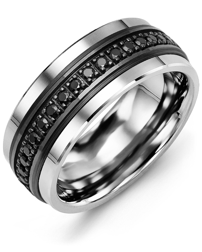 Men's & Women's Cobalt & Black Gold + 17 Black Diamonds 0.34ct Wedding Band