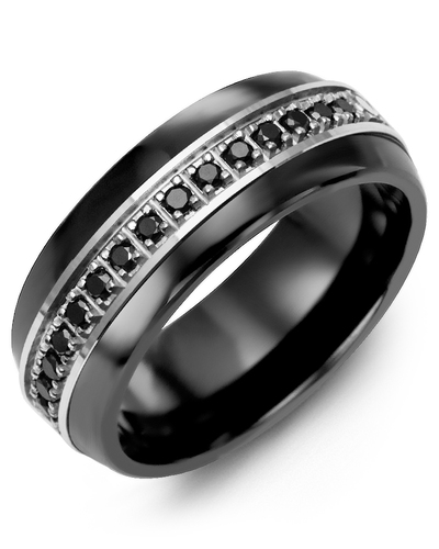 Men's & Women's Black Ceramic Half Round & White Gold + 17 Black Diamonds 0.34ct Wedding Band
