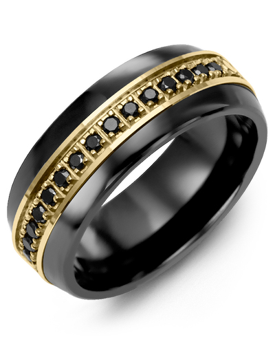 Men's & Women's Black Ceramic Half Round & Yellow Gold + 17 Black Diamonds 0.34ct Wedding Band from MADANI Rings. Wedding bands, fashion rings, promise rings, made of Tungsten, Ceramic, Cobalt, and Gold. View the collection at madanirings.com