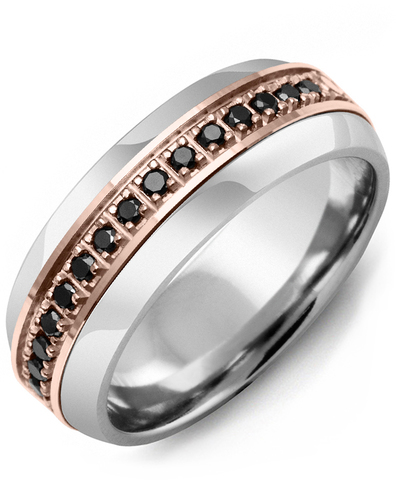 Men's & Women's Tungsten Half Round & Rose Gold + 17 Black Diamonds 0.34ct Wedding Band