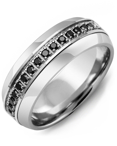 Men's & Women's Tungsten Half Round & White Gold + 17 Black Diamonds 0.34ct Wedding Band