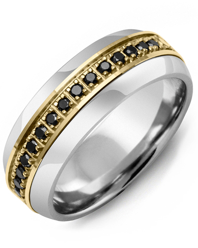 Men's & Women's Tungsten Half Round & Yellow Gold + 17 Black Diamonds 0.34ct Wedding Band
