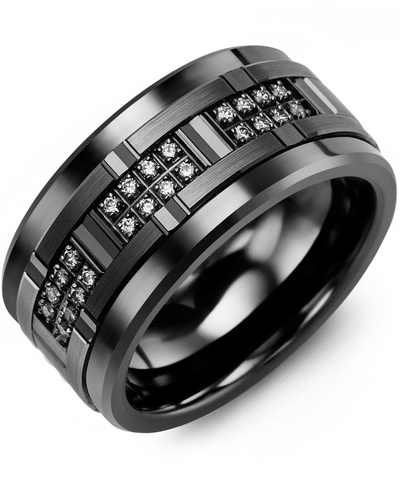 Men's All Black Wide Grooved Diamond Wedding Ring