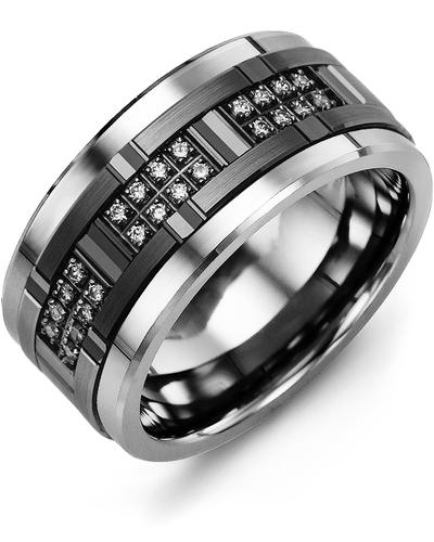 Men's & Women's Tungsten & Black Gold + 24 Diamonds 0.24ct Wedding Band