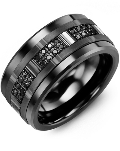 Men's & Women's Black Ceramic & Black Gold + 24 Black Diamonds 0.24ct Wedding Band