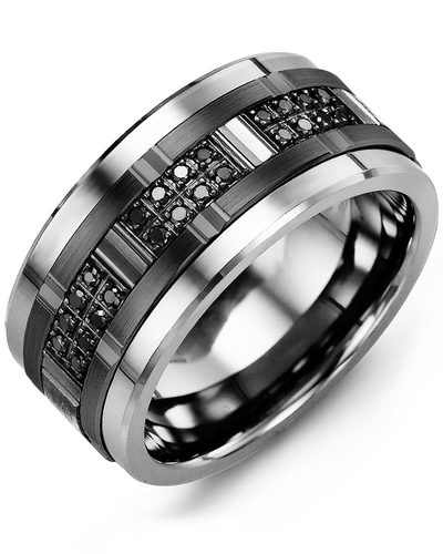 Men's & Women's Cobalt & Black Gold + 24 Black Diamonds 0.24ct Wedding Band