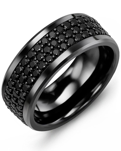 Men's & Women's Black Ceramic & Black Gold + 120 Black Diamonds 2.40ct Wedding Band