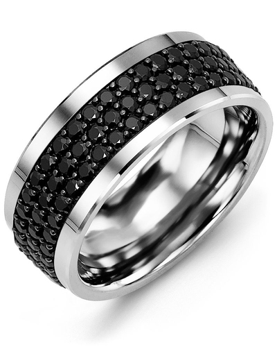 Men's & Women's Cobalt & Black Gold + 120 Black Diamonds 2.40ct Wedding Band