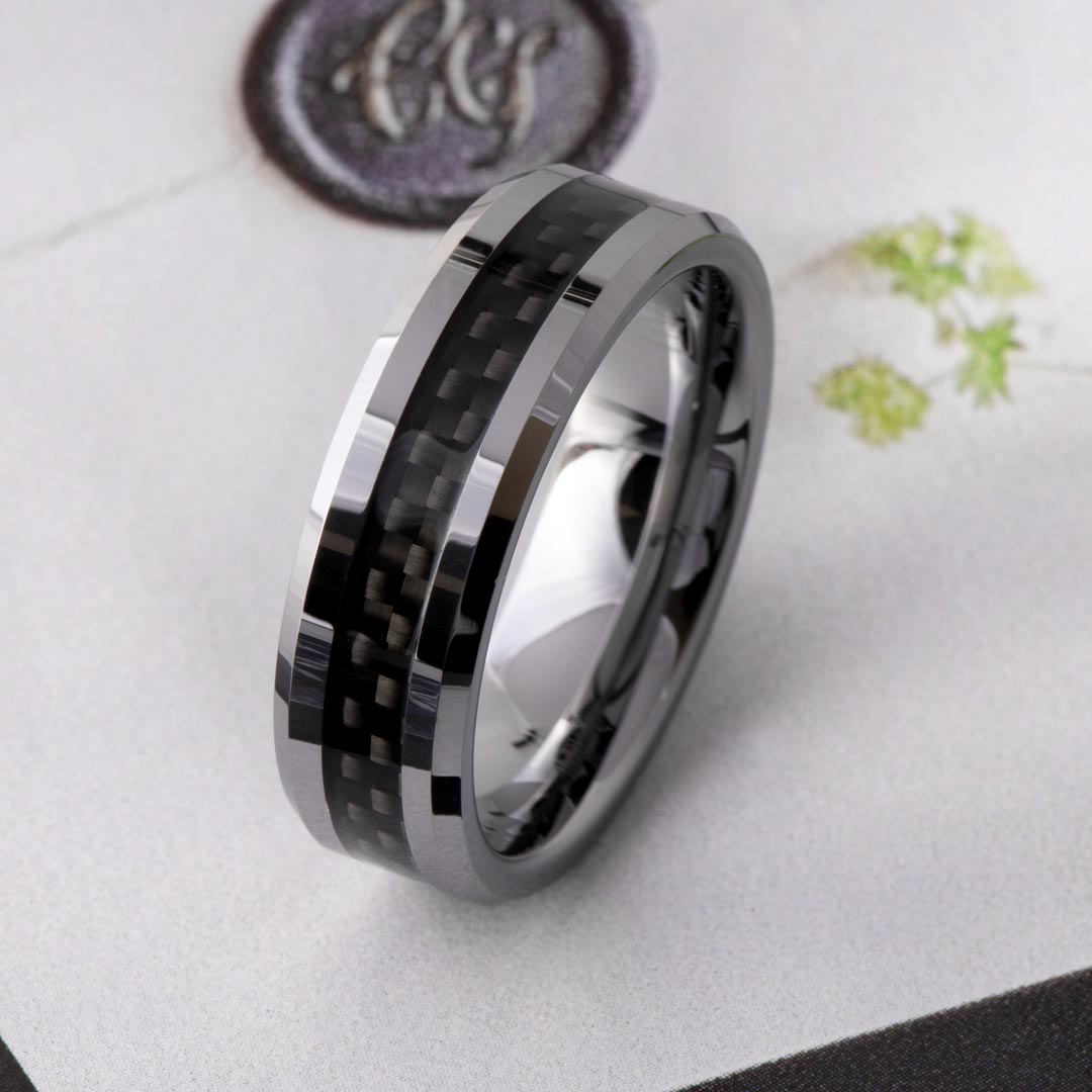 Men's Beveled Carbon Fiber Tungsten Wedding Band