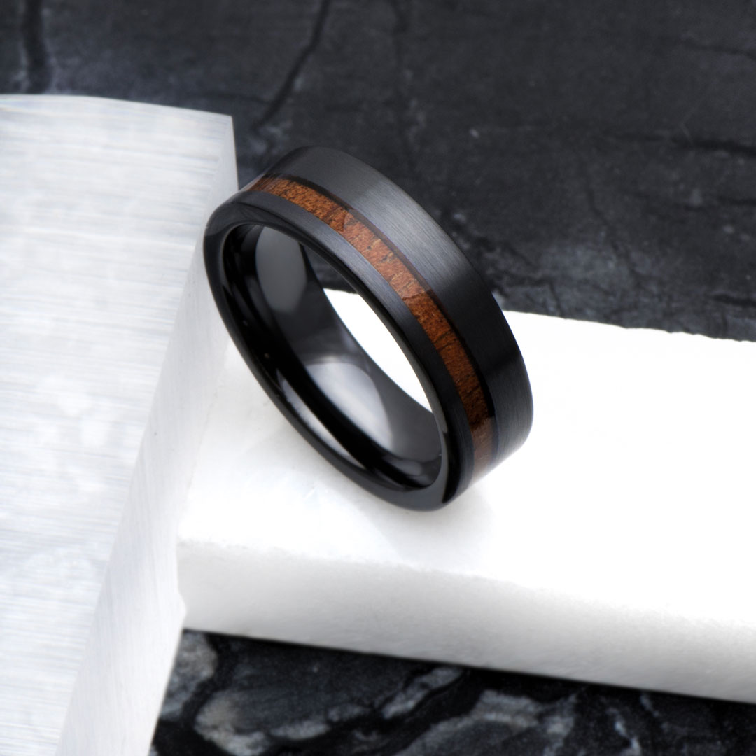 Men's Brush Black Ceramic Off Center Koa Wood Wedding Band